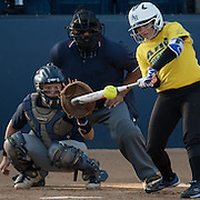 (date)(time) -- An Allen Hancock batter swings at a pitch from a Vanguard College pitcher during a fall game at Cal State Fullerton in Fullerton, CA --<br /> <br /> Photo by Colter Peterson / Sports Shooter Academy