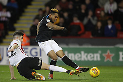 February 13, 2019 - Sheffield, South Yorkshire, United Kingdom - SHEFFIELD, UK 13TH FEBRUARY Britt Assombalonga of Middlesbrough shoots at goal past John Egan of Sheffield United during the Sky Bet Championship match between Sheffield United and Middlesbrough at Bramall Lane, Sheffield on Wednesday 13th February 2019. (Credit: Mark Fletcher | MI News) (Credit Image: © Mi News/NurPhoto via ZUMA Press)