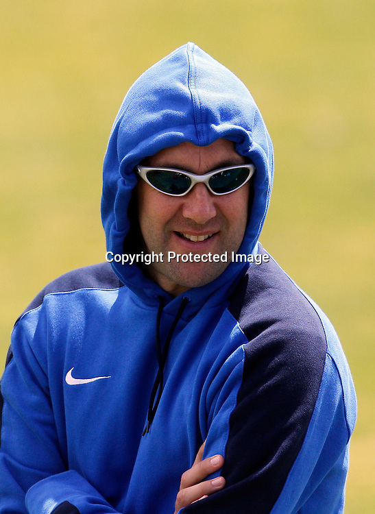 Otago coach Richard Murray feels the cold in Auckland. ASB Premiership, Waitakere United v Otago United, Fred Taylor Park Whenuapai, Sunday 29th January 2012. Photo: Shane Wenzlick