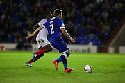 Josh Law of Oldham Athletic breaks free to score the third goal of the game to make it 2-1 during the EFL Cup match between Oldham Athletic and Wigan Athletic at Boundary Park, Oldham, England on 9 August 2016. Photo by Simon Brady.
