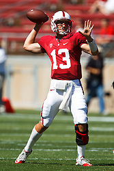 September 4, 2010; Stanford, CA, USA;  Stanford Cardinal quarterback Robbie Picazo (13) throws a pass before the game against the Sacramento State Hornets at Stanford Stadium.  Stanford defeated Sacramento State 52-17.