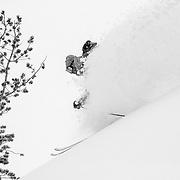 Forrest Jillson skiing backcountry powder in the Tetons.