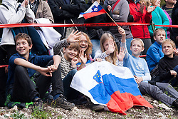 Fans during Slovenian summer national championship and opening of the reconstructed Bloudek's hill in Planica on October 14, 2012 in Planica, Ratece, Slovenia. (Photo by Grega Valancic / Sportida)