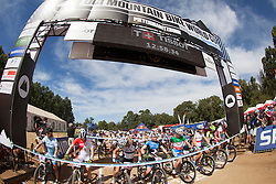 The under 23 women's field moments prior to starting the 2014 UCI Mountainbike World Cup at Pietermaritzburg, South Africa.