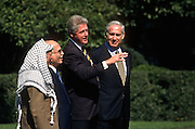 President Bill Clinton with PLO leader Yasser Arafat, King Hussein of Jordan and Israeli Prime Minister Benjamin Netanyahu at a White House October. 1, 1996 In Washington, DC.