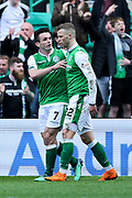John McGinn (#7) of Hibernian congratulates Florian Kamberi (#22) of Hibernian following Hibernian's first goal (1-0) during the Ladbrokes Scottish Premiership match between Hibernian and Celtic at Easter Road, Edinburgh, Scotland on 21 April 2018. Picture by Craig Doyle.