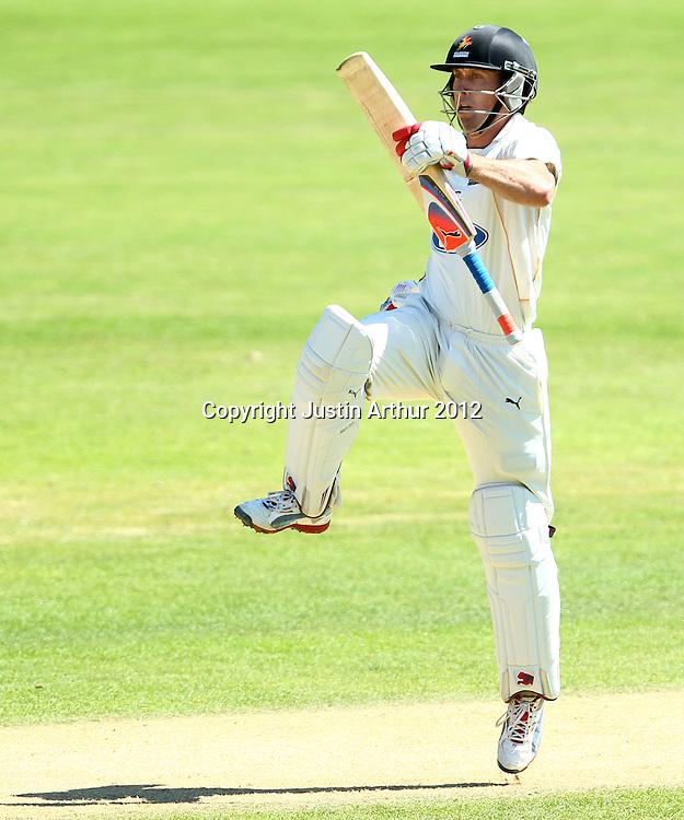 Luke Ronchi celebrates his century on day four. Plunket Shield Cricket - Wellington v Northen Districts ,Karori Park, Wellington, New Zealand on Thursday 20 December 2012. Photo: Justin Arthur / photosport.co.nz