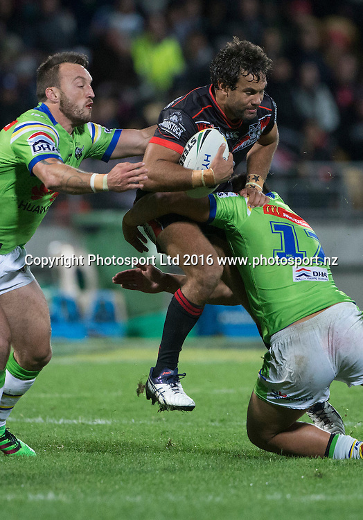 Warrior's  Matt Allwood crashes into a tackle. NRL Rugby League match between the Vodafone Warriors and Canberra Raiders, Yarrow Stadium, New Plymouth,  New Zealand. Saturday, 21 May, 2016. Copyright photo: John Cowpland / www.photosport.nz