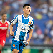 BARCELONA, SPAIN - August 18:  Wu Lei #7 of Espanyol during the Espanyol V  Sevilla FC, La Liga regular season match at RCDE Stadium on August 18th 2019 in Barcelona, Spain. (Photo by Tim Clayton/Corbis via Getty Images)