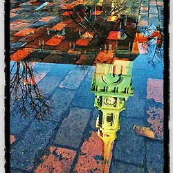"""North Church reflection in Portsmouth, New Hampshire. iPhone photo - file size is appropriate for print reproduction up to 8"""" x 12""""."""