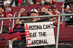 November 6, 2010; Stanford, CA, USA;  A Stanford Cardinal fan with a sign during the first quarter against the Arizona Wildcats at Stanford Stadium.