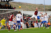 Northampton Town defender Ryan Cresswell scores the first goal during the Sky Bet League 2 match between Northampton Town and Portsmouth at Sixfields Stadium, Northampton, England on 19 December 2015. Photo by Dennis Goodwin.