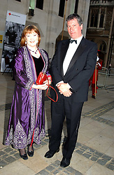 BARONESS SYMONS and her husband PHILLIP BASSETT at a tribute to Luciano Pavarotti in aid of the British Red Cross held at The Guildhall, City of London on 6th June 2005<br />