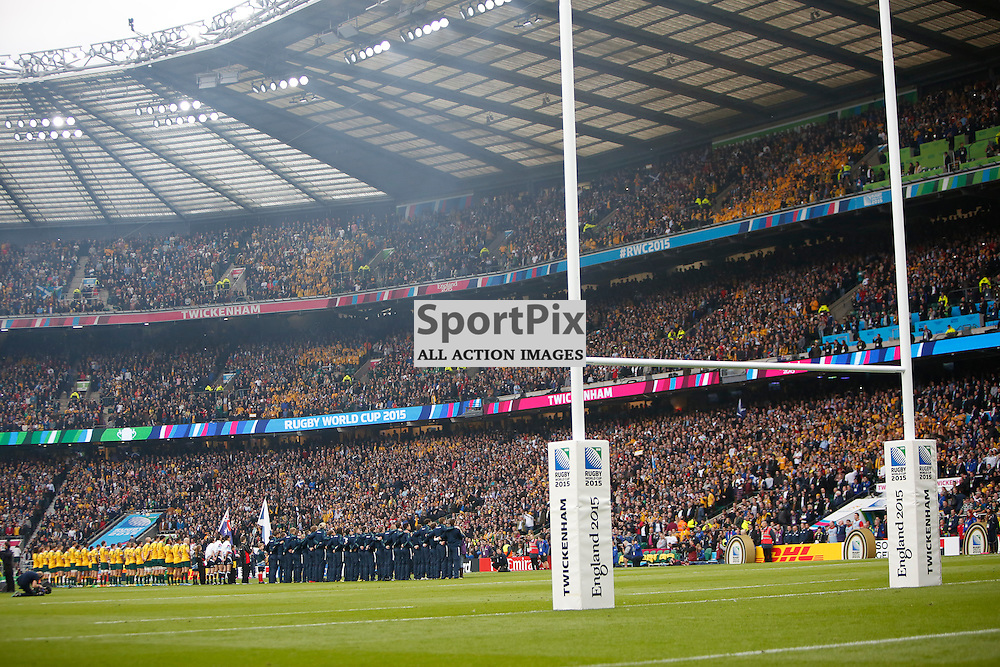 TWICKENHAM, ENGLAND - OCTOBER 18: Teams line up before  the 2015 Rugby World Cup quarter final between Scotland and Australia at Twickenham Stadium on October 18, 2015 in London, England. (Credit: SAM TODD | SportPix.org.uk)