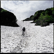 Snow field on the ascent to the summit of volcanic Mt. Rausu, Shiretoko Peninsula's highest peak, Shiretoko National Park, an UNESCO World Heritage Site.