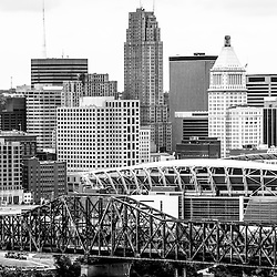 Cincinati skyline black and white picture. Photo includes Brent Spence Bridge, Paul Brown Stadium, PNC Tower Building, Fifth Third Bank Center building, Carew Tower building, Enquirer building, and US Bank Building. Photo Copyright © 2012 Paul Velgos with All Rights Reserved.