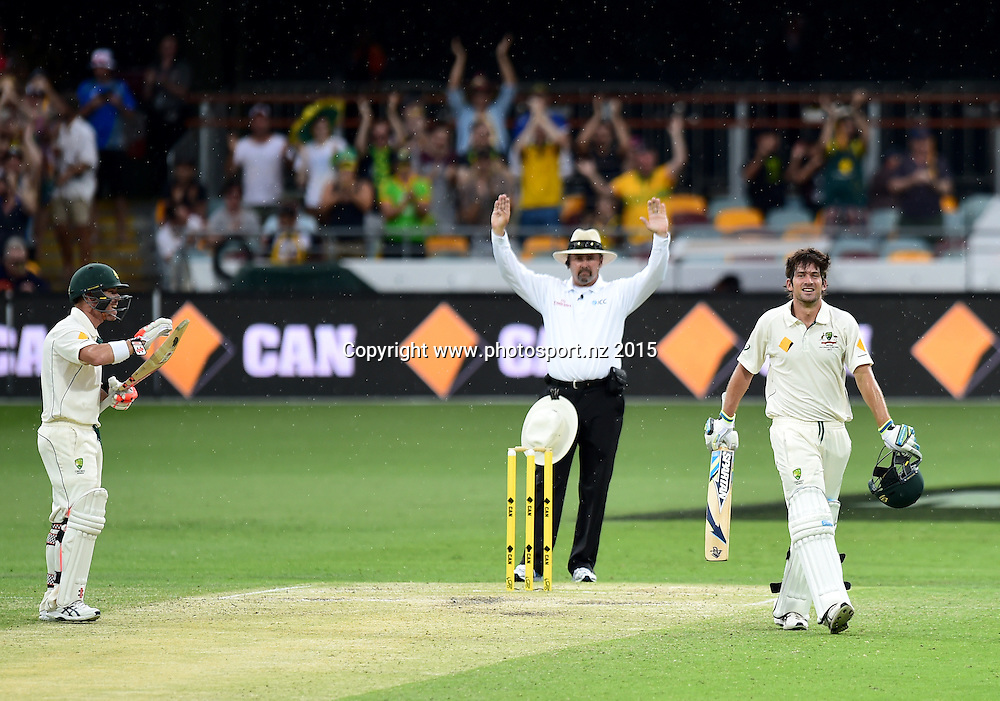 David Warner and Joe Burns on Day Three, 7 November 2015. New Zealand Black Caps tour of Australia, 1st test at Brisbane 5-9 November 2015. Copyright photo: www.photosport.nz