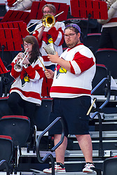 BLOOMINGTON, IL - September 15: Cowbell player in Redbird Pep Band during a college Women's volleyball match between the ISU Redbirds and the Marquette Golden Eagles on September 15 2019 at Illinois State University in Normal, IL. (Photo by Alan Look)