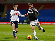 Max Clayton of Bolton Wanderers and John Swift of Brentford during the Sky Bet Championship match between Bolton Wanderers and Brentford at the Macron Stadium, Bolton<br /> Picture by Mark D Fuller/Focus Images Ltd +44 7774 216216<br /> 30/11/2015
