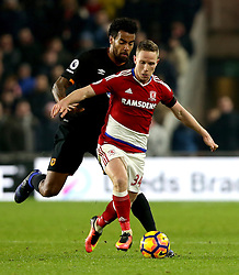 Adam Forshaw of Middlesbrough takes on Tom Huddlestone of Hull City - Mandatory by-line: Robbie Stephenson/JMP - 05/12/2016 - FOOTBALL - Riverside Stadium - Middlesbrough, England - Middlesbrough v Hull City - Premier League