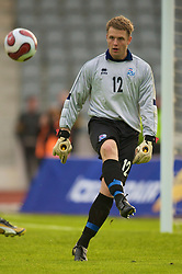 REYKJAVIK, ICELAND - Wednesday, May 28, 2008: Iceland's goalkeepr Fjalar Thorgeirsson in action against Wales during the international friendly match at the Laugardalsvollur Stadium. (Photo by David Rawcliffe/Propaganda)