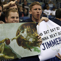 Mar 24, 2011; New Orleans, LA; Brigham Young Cougars fans hold up a sign before tip off of the semifinals of the southeast regional of the 2011 NCAA men's basketball tournament against the Florida Gators at New Orleans Arena.  Mandatory Credit: Derick E. Hingle