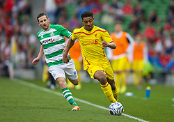 DUBLIN, REPUBLIC OF IRELAND - Wednesday, May 14, 2014: Liverpool's Jordan Ibe in action against Shamrock Rovers during a postseason friendly match at Lansdowne Road. (Pic by David Rawcliffe/Propaganda)