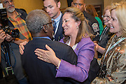 Elizabeth Colbert Busch the democratic candidate for the open Congressional seat is hugged by a supporter following her debate with republican opponent Gov. Mark Sanford at the Citadel on April 29, 2013 in Charleston, South Carolina.