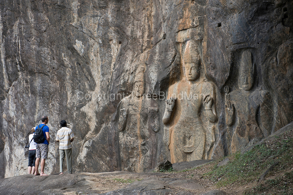 Buduruwagala Rock Sculptures.<br />  <br /> Buduruwagala is located about 4 miles (6.4 km) southeast of Wellawaya in Monaragala district, Sri Lanka