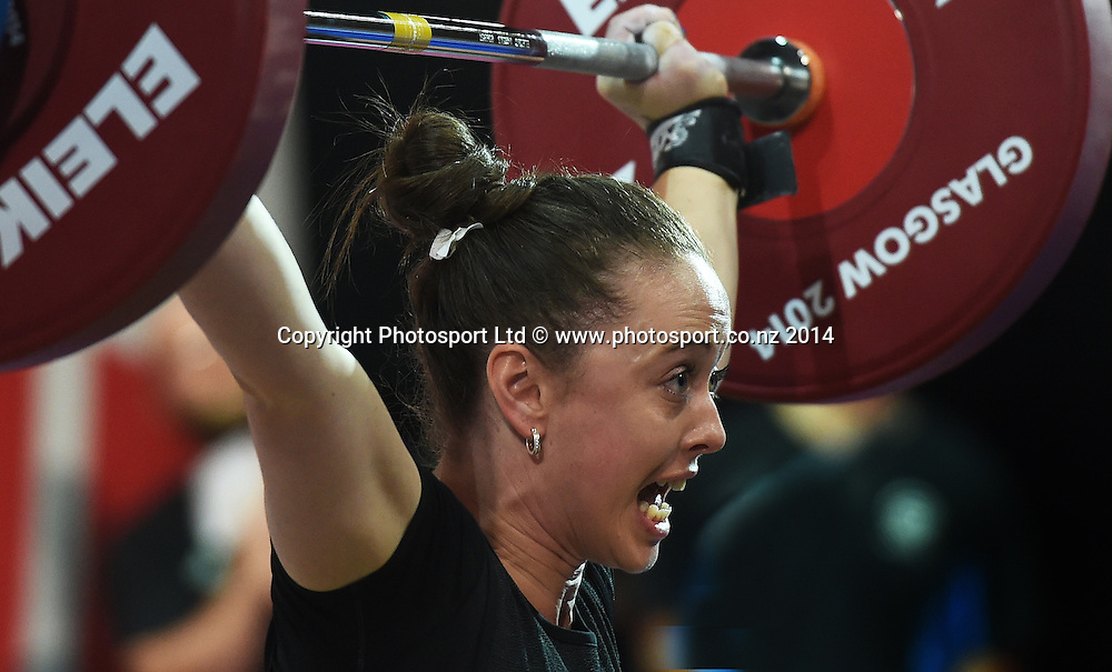 New Zealand's Philippa Hale competes in the Women's 53kg Weightlifting competition at the Commonwealth Games. Clyde Auditorium, Glasgow, Scotland. Friday 25 July 2014. Photo: Andrew Cornaga/www.Photosport.co.nz