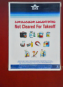 Prohibeted items displayed at Batumi international airport, Georgia