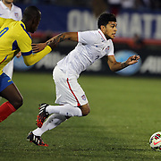 DeAndre Yedlin, USA, in action during the USA Vs Ecuador International match at Rentschler Field, Hartford, Connecticut. USA. 10th October 2014. Photo Tim Clayton