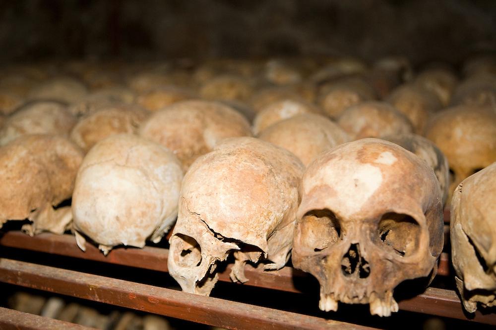 Broken skulls of Nyamata Church massacre victims