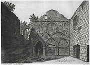 Engraving of Scottish landscapes and buildings from late eighteenth century, Balmarinock Abbey, Scotland, UK , drawn by S Hooper