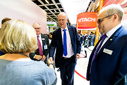 UK Secretary of State for Transport Chris Grayling visits the Hitachi Rail Europe MD Karen Boswell OBE on the stand as Hitachi Rail exhibit at InnoTrans 2018 - Rogan/JMP - 19/09/2018 - PR - Messe Berlin - Berlin, Germany.