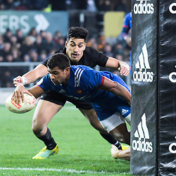 France's Wesley Fofana scores their second try during the Steinlager Series international rugby match between the New Zealand All Blacks and France at Forsyth Barr Stadium in Wellington, New Zealand on Saturday, 23 June 2018. Photo: Dave Lintott / lintottphoto.co.nz