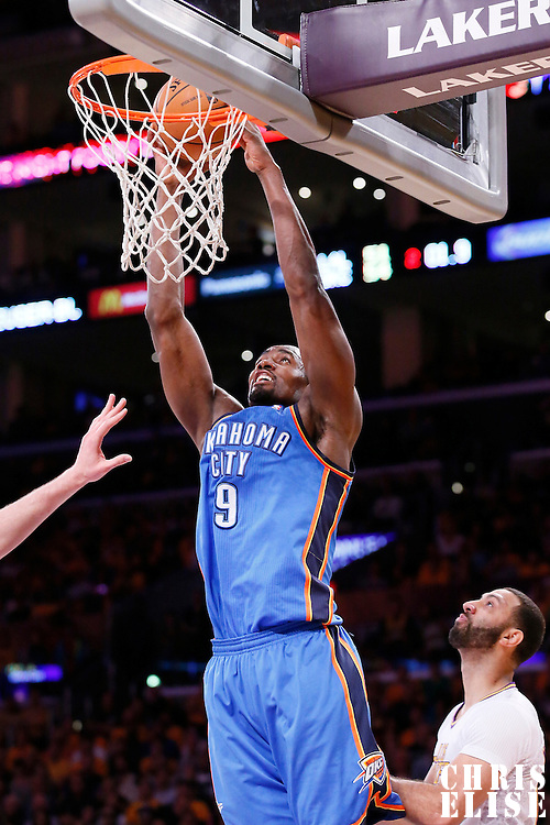 09 March 2014: Oklahoma City Thunder power forward Serge Ibaka (9) goes for the dunk during the Los Angeles Lakers 114-110 victory over the Oklahoma City Thunder at the Staples Center, Los Angeles, California, USA.