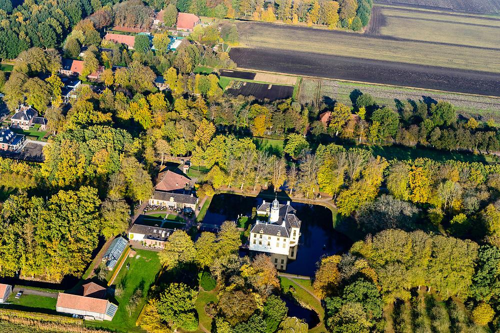 Nederland, Groningen, Midden-Groningen,, 04-11-2018; Slochteren, Fraeylemaborg. Borg, burcht, <br /> versterkt huis. Met parkbos, landgoed.<br /> Slochteren, Fraeylemaborg.  Reinforced house or estate, with park forest.<br /> <br /> luchtfoto (toeslag op standaard tarieven);<br /> aerial photo (additional fee required);<br /> copyright © foto/photo Siebe Swart
