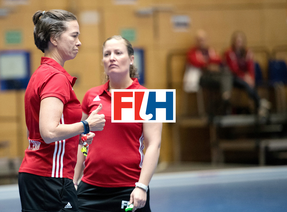 BERLIN - Indoor Hockey World Cup<br /> Kazakhstan - Russia<br /> foto: Umpires Gabriele Schmitz and Maggie Giddens<br /> WORLDSPORTPICS COPYRIGHT FRANK UIJLENBROEK