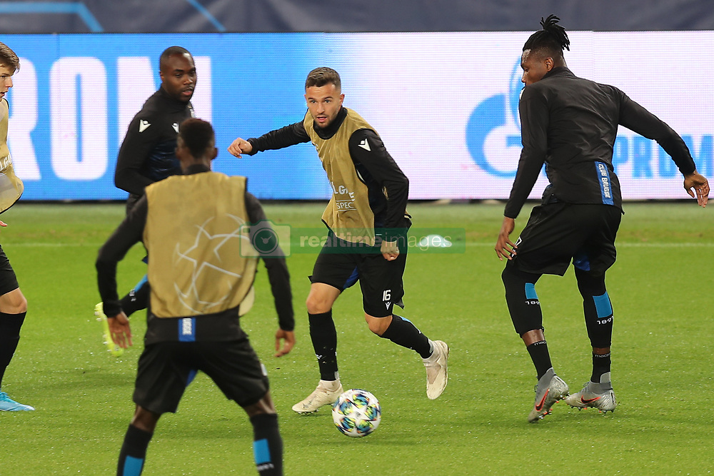 November 5, 2019, Paris, France: Club's Eder Balanta, Club's Siebe Schrijvers and Club's Simon Deli fight for the ball during a training session of Belgian soccer team Club Brugge KV, Tuesday 05 November 2019 in Paris, France, in preparation of tomorrow's match against French club Paris Saint-Germain Football Club in the first round of the UEFA Champions League. (Credit Image: © Bruno Fahy/Belga via ZUMA Press)