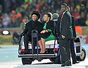 JOHANNESBURG, SOUTH AFRICA- Sunday 11 July 2010, former president Nelson Mandela and his wife Graca Machel during the closing ceremony held at Soccer City in Soweto during the 2010 FIFA Soccer World Cup..Photo by Roger Sedres/Image SA