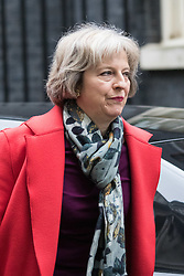 Downing Street, London, February 11th 2016. Home Secretary Theresa May attends the weekly cabinet meeting. <br /> &copy;Paul Davey<br /> FOR LICENCING CONTACT: Paul Davey +44 (0) 7966 016 296 paul@pauldaveycreative.co.uk