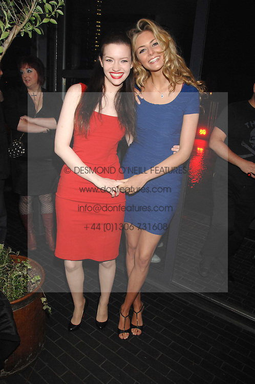 Left to right, actresses TALULAH RILEY and TAMSIN EGERTON at the launch Beyond The Rave - Hammer's first horror movie in 30 years, held at Shoreditch House, London on 16th April 2008.<br />