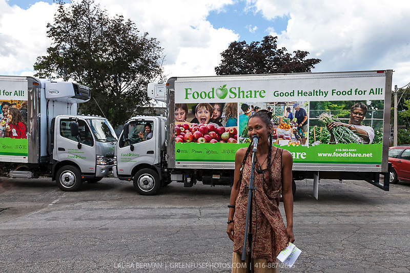 Ribbon Cutting Ceremony for FoodShare's 2 newest delivery trucks, complete with colourful photo grapics.