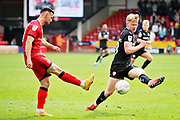 Barnsley forward Jacob Brown (33) misses this overhead kick during the EFL Sky Bet League 1 match between Walsall and Barnsley at the Banks's Stadium, Walsall, England on 23 March 2019.