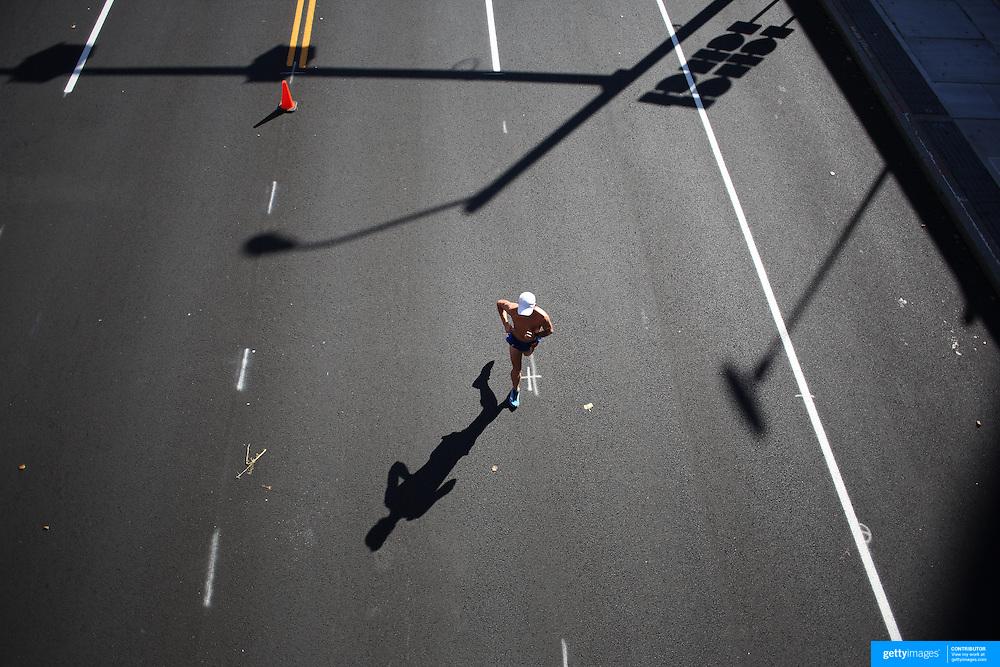 A runner heading to the finish line during the ING Hartford Marathon, Bushnell Park, Hartford. Connecticut. USA. Hartford, Connecticut, USA. 12th October 2013. Photo Tim Clayton