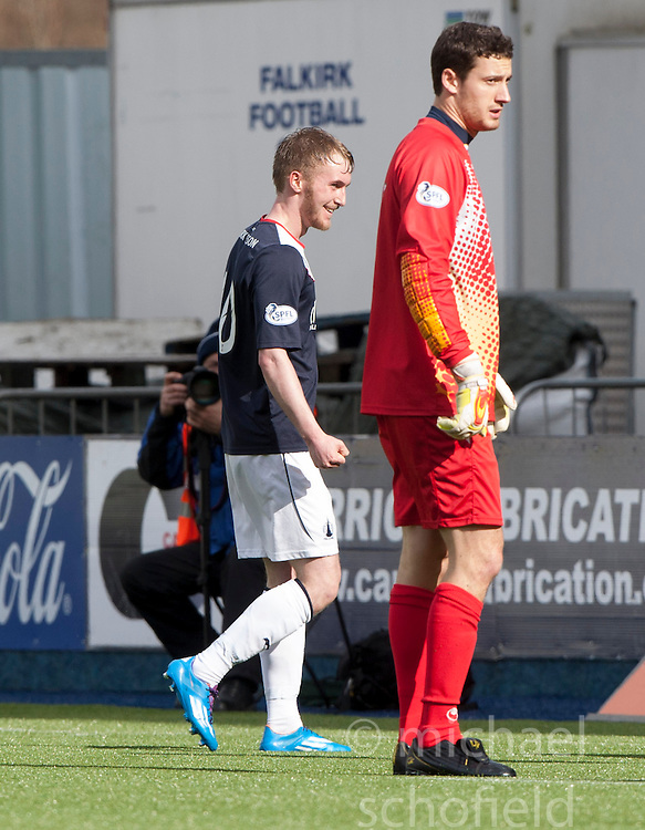 Falkirk's Craig Sibbald cele scoring their fourth goal.<br /> Falkirk 5 v 0 Cowdenbeath, Scottish Championship game played today at The Falkirk Stadium.<br /> &copy; Michael Schofield.
