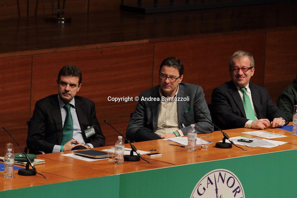 Torino 15 Dicembre 2013. Lingotto Fiere Congresso Federale Lega Nord Padania.<br /> Cota, Giorgetti, Maroni