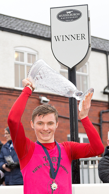 146th New Year Sprint 1 January 2015; Cameron Tindle, winner of the 146th New Year Sprint at Musselburgh Racecourse, Musselburgh;