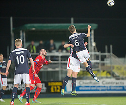 Falkirk's Peter Grant and Falkirk's Will Vaulks collide. Falkirk 1 v 1 Rangers, Scottish Championship game played 27/2/2014 at The Falkirk Stadium .